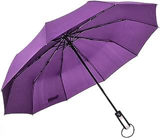 Automatic Folding Umbrella Ten Bone Vented Windproof Rain Three Folding Purple Unbreakable Reinforced Double Canopy