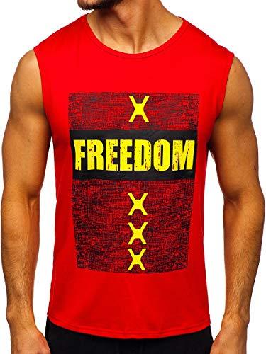 BOLF Hombre Camiseta Tank Top sin Manga Escote Redondo Impresión J.Style KS2095 Rojo XXL [3C3]