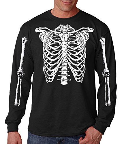 iApparel Halloween Skeleton Rib Cage Easy Costume T-Shirt Long Sleeve (Large) Black