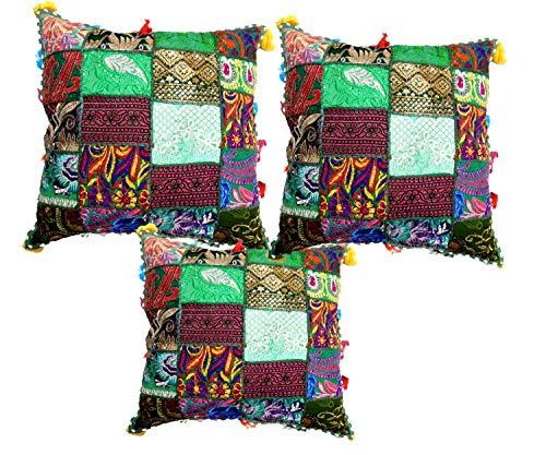 iinfinize – Juego de 3 piezas de fundas de cojín con bordado indio para el suelo, con borlas, funda de sofá tradicional, almohada decorativa para silla, cuadrada, hippie, boho, taburete de meditación, puf