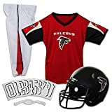 Franklin Sports Deluxe NFL-Style Youth Uniform – NFL Kids Helmet, Jersey, Pants, Chinstrap and Iron on Numbers Included – Football Costume for Boys and Girls, Atlanta Falcons, Large