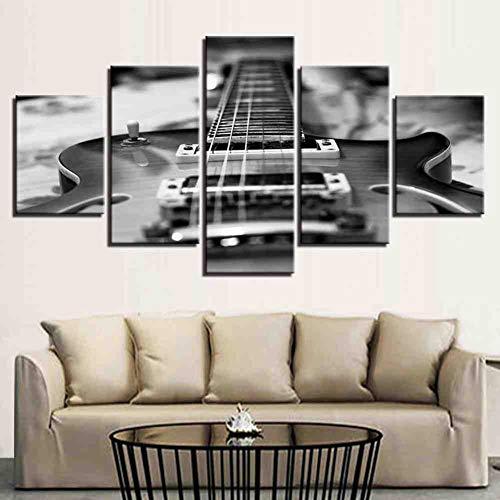 GIAOGE 5 stuks canvas schilderijen vintage zwart wit muziek gitaar wooncultuur ingelijste muurkunst ohne gerahmt 40 x 60, 40 x 80, 40 x 100 cm.
