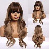 Peluca marrón encantadora, peluca larga para mujer, peluca sintética rizada natural resistente al calor, adecuada para mujeres blancas(con flequillo)- 24 pulgadas