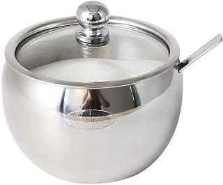 Newness Azucareros con Tapa y Cuchara, Acero Inoxidable Salero Cocina, Función Recipiente de Azúcar Frasco de Azúcar para Cocina y Hogar, 225 ML (7.6 OZ)