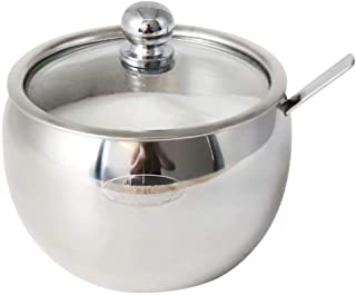 Newness Sugar Bowl, Stainless Steel Drum Shape Sugar Pot with Clear Lid and Spoon, 225 Milliliter(7.6 FL OZ) for Home & Kitchen