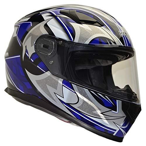 Vega Helmets Unisex-Adult Full Face Motorcycle Helmet (Blue Shuriken, XX-Large)
