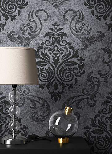 NEWROOM Barocktapete Tapete Schwarz Ornament Barock Vliestapete Vlies moderne Design Optik Barocktapete Wohnzimmer Glamour inkl. Tapezier Ratgeber