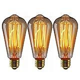 Lampadina Edison Lampadina Vintage 40W ST64 E27 Luce Retro, Lampada Bar Stile Industriale, Bianco Caldo, llluminazione Decorativa Antica 220V-230V-3 Pezzi