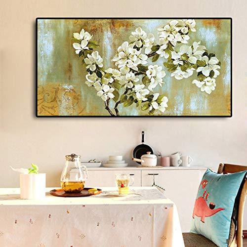 Sanzangtang Bloemen-amandelboom bloemen impressieisme landschap olieverfschilderij canvas poster en afdrukken woonkamer muurschilderijen Frameloos