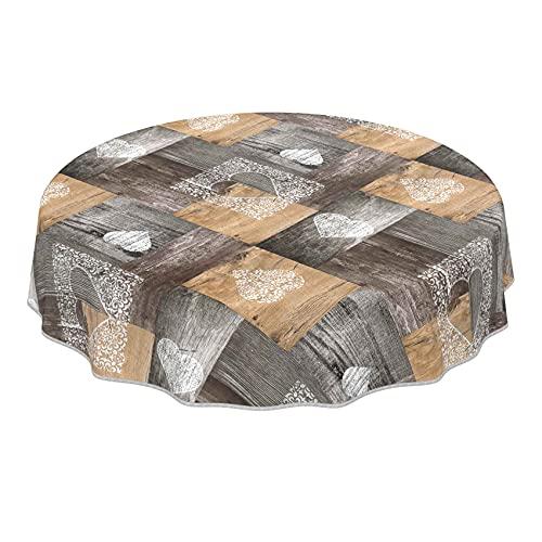 ANRO abwaschbare Tischdecke für große Tische Wachstuch Wachtuchtischdecke mit Design Holz Herz Liebe Braun Rund 155cm mit Saum - Eingefasst