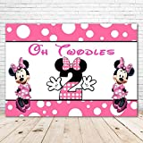 Oh Twodles Backdrop Minnie Mouse 7x5 Vinyl Pink and White Minnie Mouse Background for Girls 2 Year Old Birthday Party Supplies