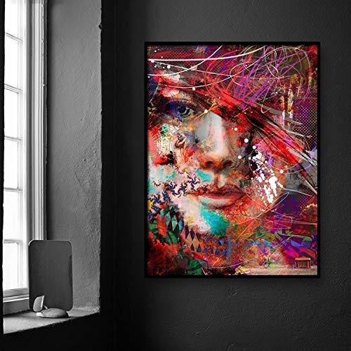 fdgdfgd Personaje de Moda Abstracta Cartel de Tacones Altos decoración del hogar Lienzo Pintura Estilo nórdico Imagen Pared Obra Sala de estar80X100CM