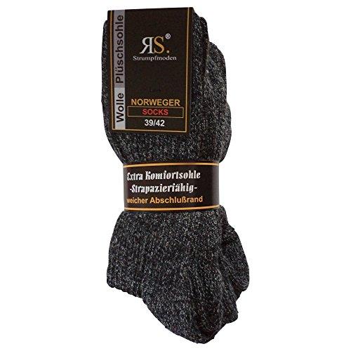 Ges&heitsstrumpf 6 Paar Norweger Socken ohne Gummi Diabetikersocken Wolle Ohne Gummizug Plüschsohle (39-42, Anthrazit)