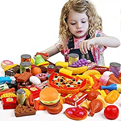 small 139 pieces of Play Food kitchen toys with Tencoz Play Food Set, fruits, vegetables and drinks. Please try to imagine…