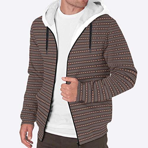 Rngian, giacca da uomo con cappuccio in lana calda e spessa con motivo etnico, Uomo, bianco, XXL