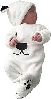 Baby Boys Girls Romper Set, Toddler Kids Cartoon Printed Long Sleeve Fleece Jumpsuit+Hat Sets