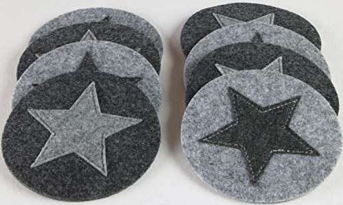 GILDE Filz Untersetzer rund, 8er Set, waschbar, Handwerk grau mit Stern …