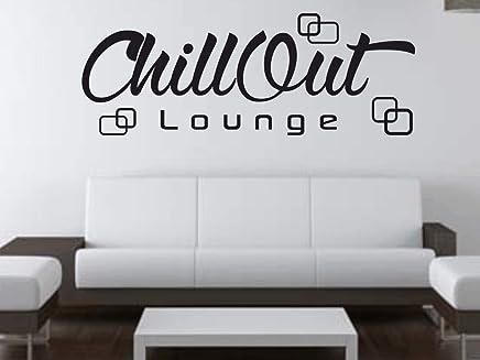 X Modeling® Wandtattoo Chill Out Retro Lounge Wohnzimmer Schlafzimmer  Sprüche M2115 Schwarz 120cm X