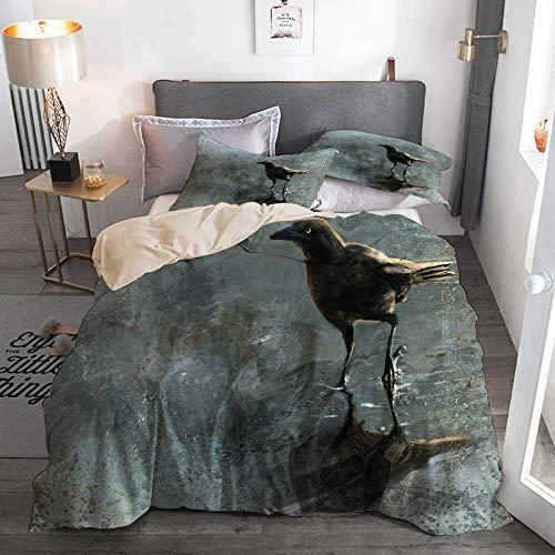 812 Housse de Couette avec taie,Oiseau Grackle éclaboussure Brosse Faune impressionniste Brun Oiseau,140x200cm+2 taies d'oreillers 50x75cm
