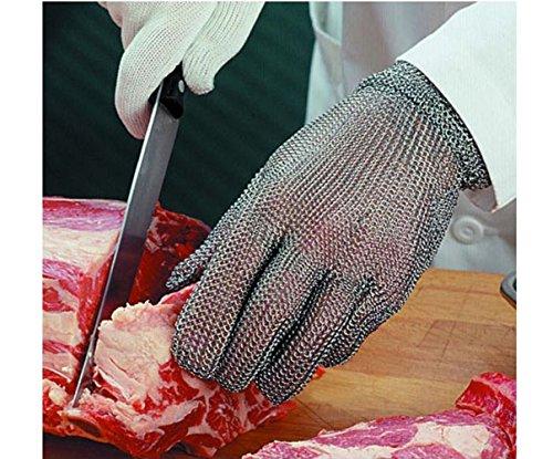 Juafu - Guanti in maglia in acciaio INOX da macellaio, antitaglio