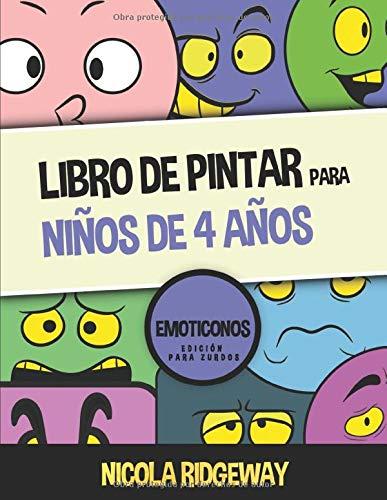 Libro de pintar para niños de 4 años (Emoticonos) - Edición para zurdos: Este libro contiene 40 láminas para colorear. Este libro ayudará a los niños ... motoras finas (Libros de pintar para niños)