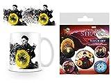 1art1 Doctor Strange, Splatter Tasse À Café Mug (9x8 cm) Et 1 Doctor Strange, Paquet De Badges (15x10 cm)