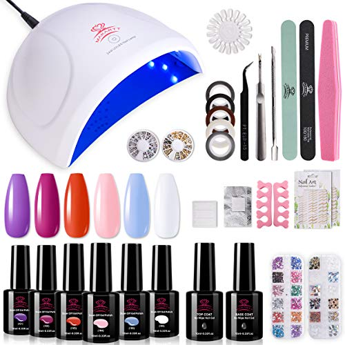 Makartt Gel Nail Polish Kit with LED Light, 24W Nail Lamp 6 Gel Nail Polish Pastel Colors Red Pink Blue with Base Top Coat All In One Kit for Nail Beginners Manicure Tools Nail Art at Home P-16