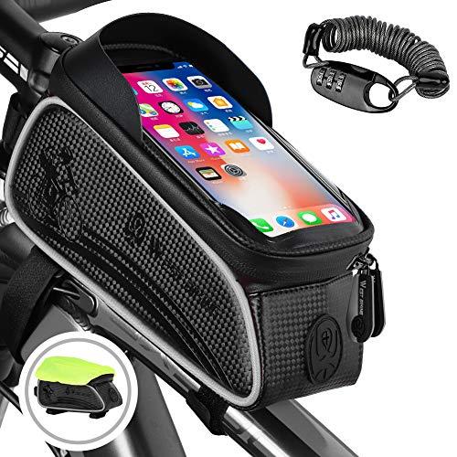 Fahrrad Rahmentasche Wasserdicht, Lenkertasche Reflektierend, Handyhalterung Oberrohrtasche mit TPU-Touchscreen Kopfhörerloch für Smartphone unter 6,5 Zoll (Gratis: Schloss/Reifenreparaturwerkzeug)