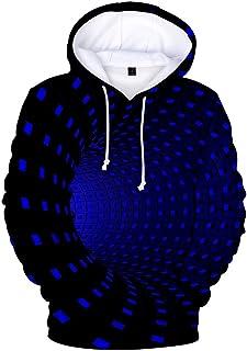 UJUNAOR Uniesx Sweatshirt Hoodie 3D Vortex Dizzy Sweatshirt Sleeves Sport Funny Hood for Men Women