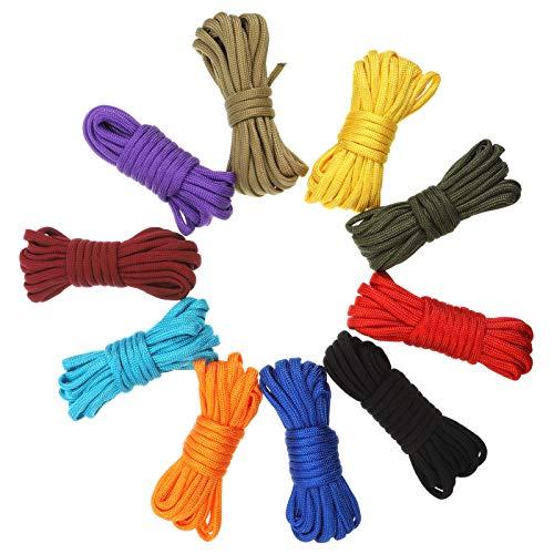 SUSSURRO 10 Farben 10 Fuß Paracord Schnur 550 Paracord Seile, Fallschirmschnur Paracord Bänder Set für DIY Armbänder, Schlüsselanhänger,Hundeleinen, Leinen, Zeltseil, andere Outdoor-Aktivitäten
