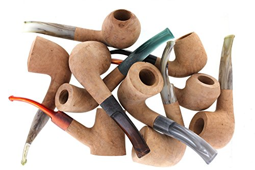 Mixed Unfinished Bent Pipes - 10 Pack - Various Shapes and Stem Colors