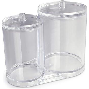 iGadgitz Home U7093 Caja Bastoncillos Algodón Caja para Discos Desmaquillantes (2 frascos) - Transparente: Amazon.es: Hogar