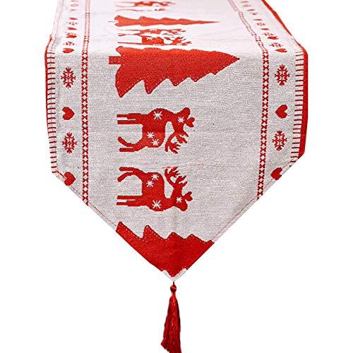 JYCTD Mantel Individual de Navidad, Mantel de Punto Colorido Creativo, muñeco de Nieve/árbol/Mantel de Alce, Camino de Mesa para decoración navideña