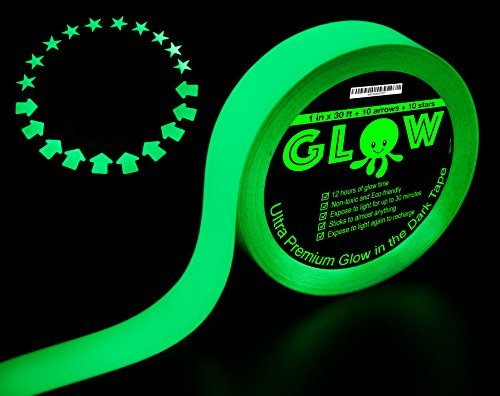 Best Glow in the Dark Tape for Safety Stairs Light Switches Stage Theatrical Theater Exits Decals Ceiling Floor Vinyl Stripe Arrows Stars Dot Waterproof Gaffers Halloween Fluorescent