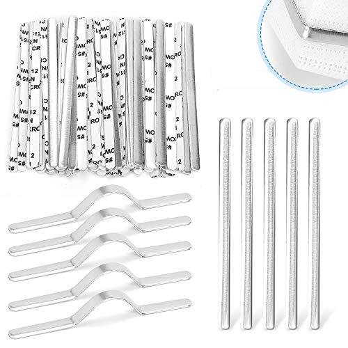 100 tiras de aluminio para puente de nariz, tiras de aluminio de 90 mm, alambre de nariz autoadhesivo, clips de nariz planos...