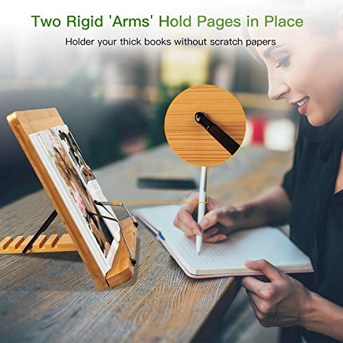 Bamboo-Book-Stand-Cookbook-Holder-Desk-Reading-with-5-Adjustable-Height-Foldable-and-Portable-Sturdy-Bookstands-for-Textbook-Recipe-Magazine-Music-Books-Laptop-Tablet-by-Pipishell