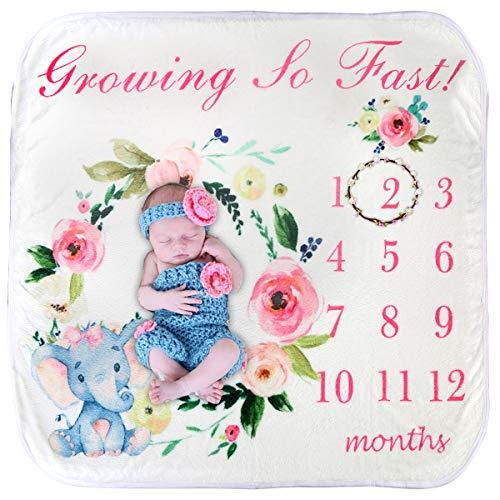 Couverture bébé mensuelle pour bébé, super douce, unisexe, toile de fond pour photographie, couverture d'emmaillotage, plante avec imprimé animal mignon, cadeau de naissance