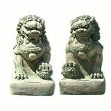 Wilai Décoration de Jardin, Statuette Chien FU (ou Lion Chinois), mâle ou Femelle, Vert (10003)