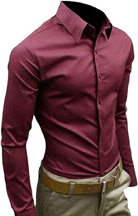 security - Camisa Casual - Manga Larga - para Hombre Rojo ...