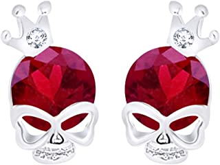 Simulated Skull with Crown Stud Earrings14K White Gold Over Sterling Silver
