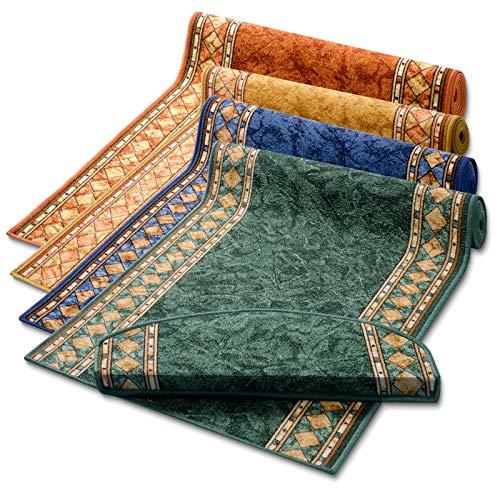 Stufenmatten grün mit aufwendiger Randmusterung   Qualitätsprodukt aus Deutschland   GUT Siegel   kombinierbar mit Läufer   65x23,5 cm   halbrund   15er Set