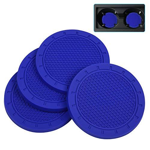 Car Coasters, Wisdompro 4 Pack PVC Car Cup Holder Insert Coaster - Anti Slip Universal VehicleInterior Accessories Cup Mats for Men and Women(2.75' Diameter, Blue)