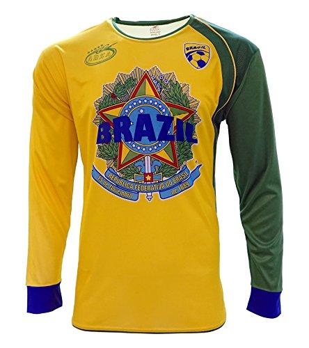 Brazil 2016 New Arza Soccer Jersey Long Sleeve (Large)