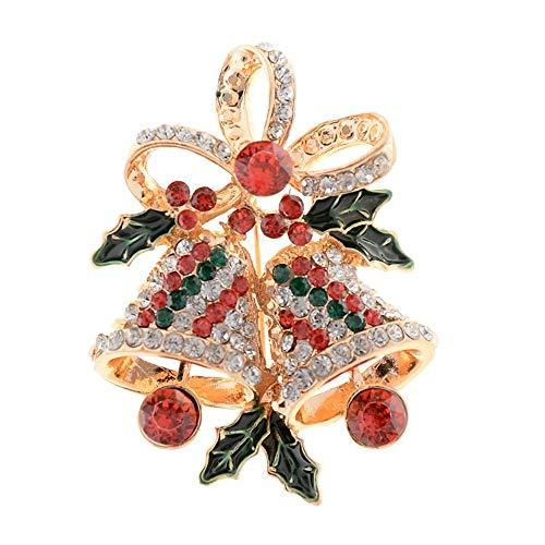 GRBAONI Broche De Navidad Broche De Aleación De Navidad Broche De Navidad para Niñas Moda Mujer Pin Hoja Campana Disfraz Broche De Navidad