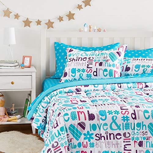 Amazon Basics Easy Care Super Soft Microfiber Kid's Bed-in-a-Bag Bedding Set - Full / Queen, Multi-Color Dream Big