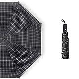 MUHWA Sombrilla solar protección UV paraguas automático para viaje a prueba de viento paraguas impermeable plegable (negro)
