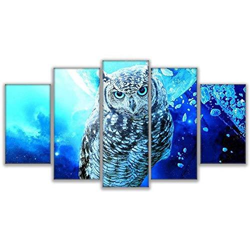 FHSFFS Leinwand Wohnzimmer Hauptdekoration Wandkunst Bilderrahmen 5 virtueller Raum Tier Eule Malerei HD druckt modulares Poster