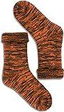 1, 2 oder 3 Paar Warme Thermo Wintersocken mit Schafwolle - Wollsocken für Damen & Herren Farbe Orange/Schwarz Größe 2 Paar 39-42