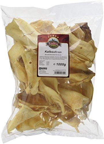 EcoStar Snack per Cani, Orecchie di Vitello, Pacco da 1 kg