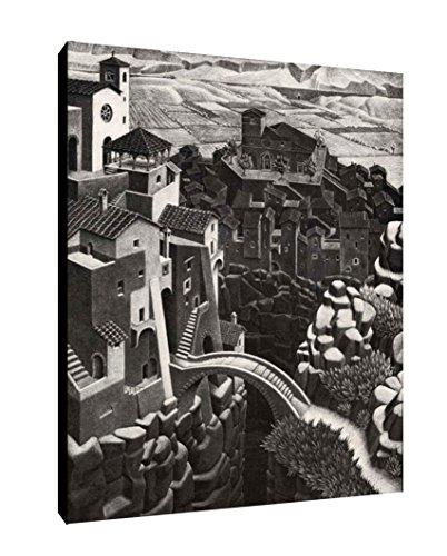 Quadro intelaiato Pronto da Appendere Escher 29 cm 50x70 Stampa su Tela Canvas Il Negozio di Alex